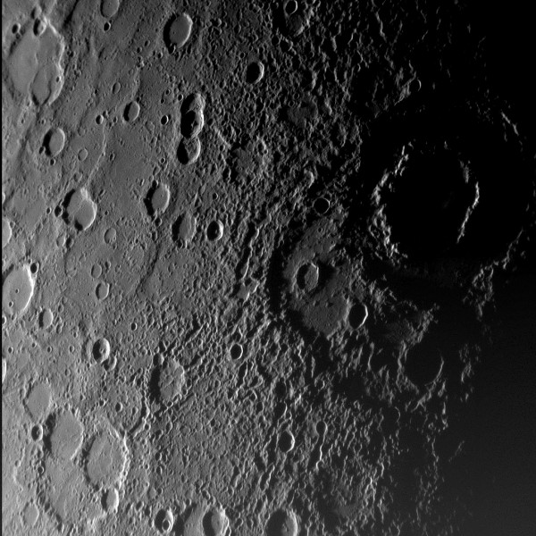 A close-up of the planet Mercury's surface from NASA's Messenger mission. Image credit: NASA.