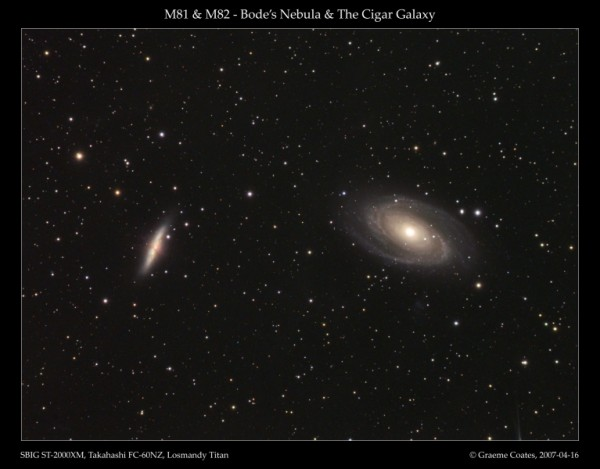 Messier 81 and 82, as seen through a telescope. Image credit: Graeme Coates, 2007.