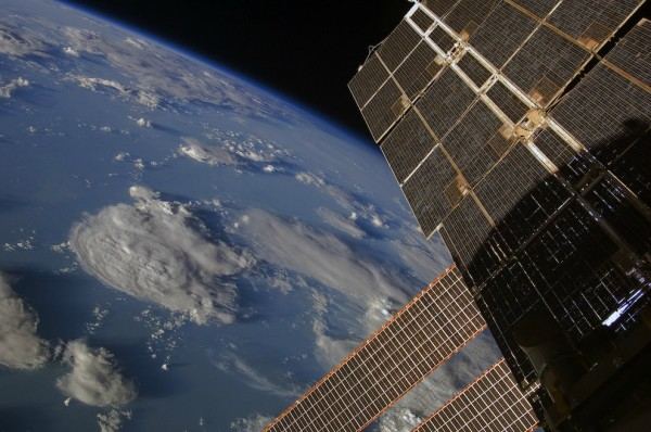 Earth and ISS Solar Panels