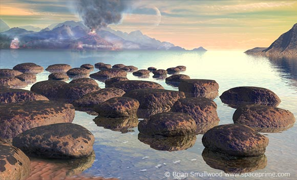 Illustration of life on early Earth