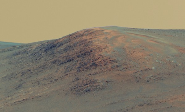 A hilly mountain on Mars
