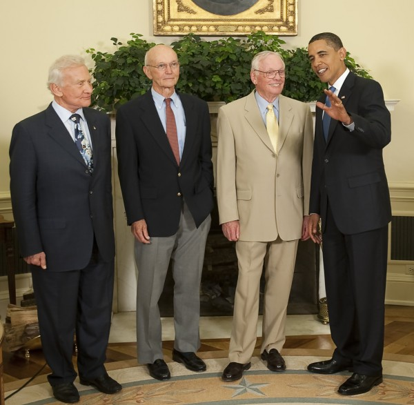 All three Apollo 11 Astronauts with Barack Obama