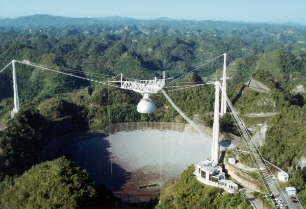 Arecibo's radio telescope, the largest in the world, is orders of magnitude too small