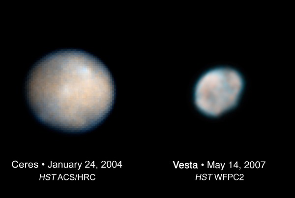 Ceres and Vesta from Hubble