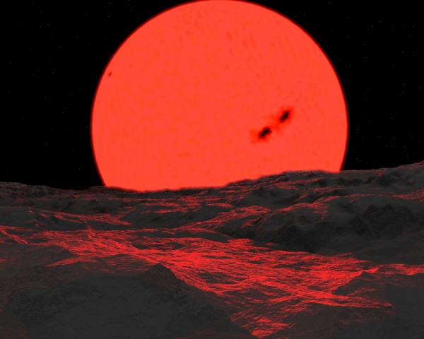 Theoretical view of the Sun as a red giant from a barren Earth