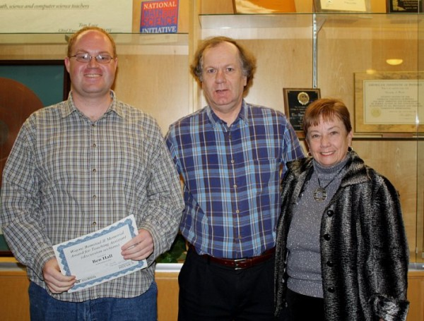 Image credit: the recipient of the 2010 Wayne R. Bomstad II award, with the department chair at center and Wayne's mom at right.