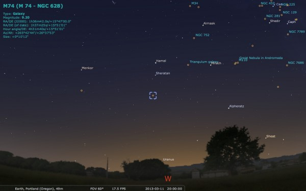Image credit: Me, using the free software Stellarium, http://stellarium.org/.