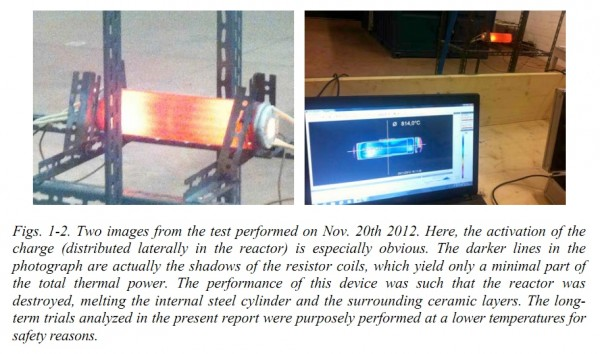 Image credit: from the Nov. 12, 2012 testing of the E-Cat, via G. Levi et al.
