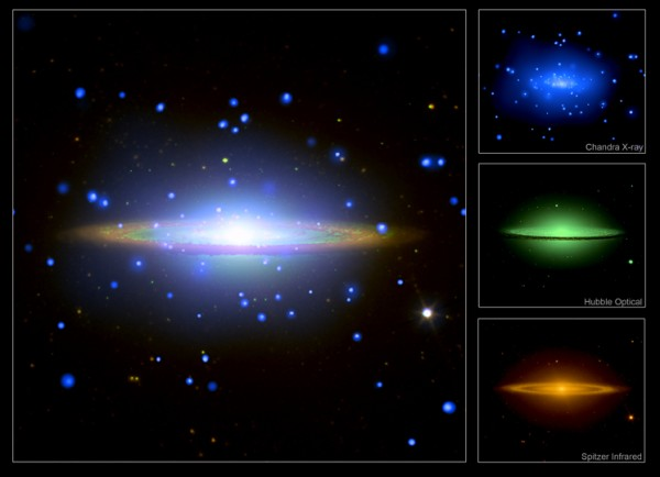 Images credit: X-ray: NASA/UMass/Q.D.Wang et al.; Optical: NASA/STScI/AURA/Hubble Heritage; Infrared: NASA/JPL-Caltech/Univ. AZ/R.Kennicutt/SINGS Team.