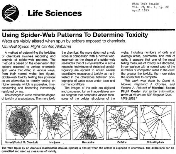 Image credit: Noever, R., J. Cronise, and R. A. Relwani. 1995. Using spider-web patterns to determine toxicity. NASA Tech Briefs 19(4):82.