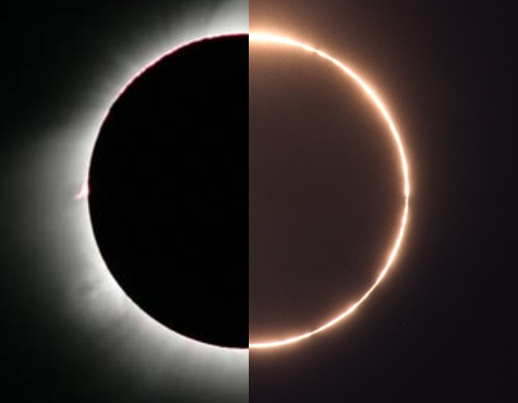 Image credit: Left: Fred Espenak (Mr. Eclipse); Right: Stephan Heinsius.