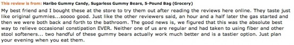 Image credit: actual customer review of Haribo sugar-free gummi bears from http://www.amazon.com/.
