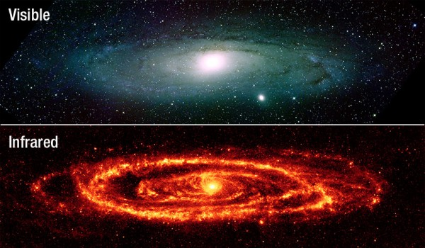 Images credit: NASA, via Kitt Peak National Observatory (visible, top) and Spitzer (IR, below).