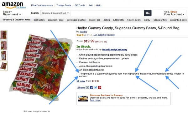 Image credit: Screenshot from Amazon. Blue arrows added by me for emphasis.