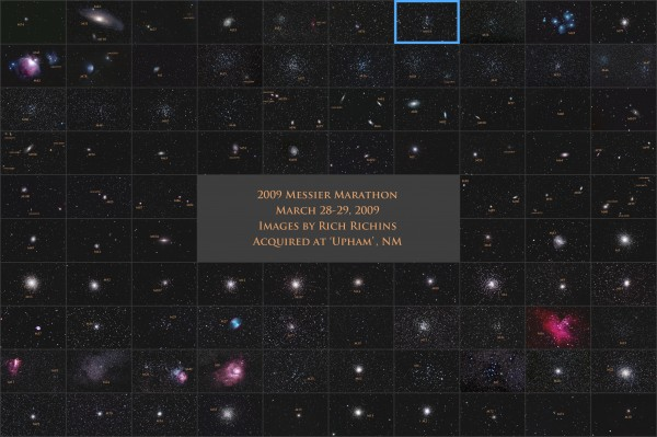 Image credit: Rich Richins, of all 110 Messier objects (in no particular order), from a 2009 marathon.