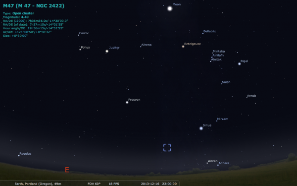 Image credit: me, using the free software Stellarium, via http://stellarium.org/.