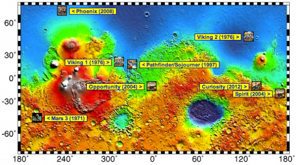 Image credit: NASA/JPL-Caltech, overlay of lander/rover sites via Wikipedia.