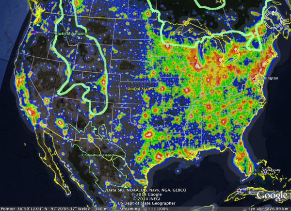 Image credit: Google Earth with Light Pollution Overlay.
