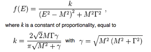 Image credit: screenshot from the Wikipedia page on the relativistic Breit-Wigner distribution.