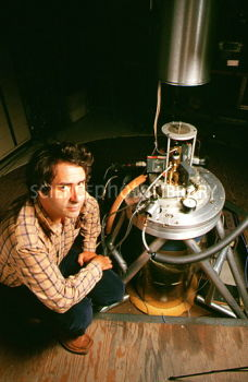 Image credit: Science Photo Library, of Blas Cabrera with his Magnetic Monopole detector.