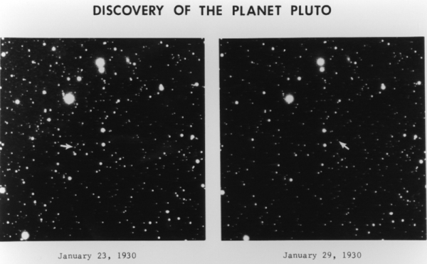 Image credit: Clyde Tombaugh's original images, with Pluto indicated by the arrows.