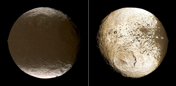 Image credit: NASA / JPL, via http://spacefellowship.com/news/art16887/reddish-dust-and-ice-migration-darken-saturn-s-moon-iapetus.html.