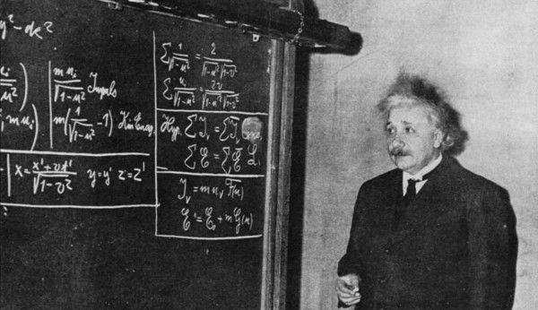 Image credit: Einstein deriving special relativity, 1934, via http://www.relativitycalculator.com/pdfs/einstein_1934_two-blackboard_derivation_of_energy-mass_equivalence.pdf
