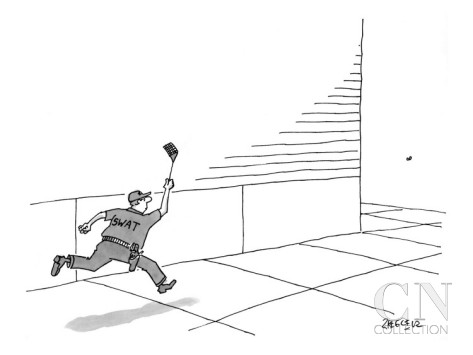 Image credit: Jack Ziegler for the New Yorker, via Conde Nast at http://www.condenaststore.com/-sp/A-S-W-A-T-team-member-is-running-down-the-block-chasing-after-a-fly-with-a-New-Yorker-Cartoon-Prints_i8472674_.htm.