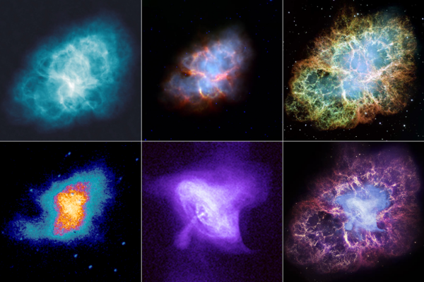Images credit: NASA. The Crab Nebula at radio, infrared and visible wavelengths. Bottom Row (left to right): ultraviolet, x-ray, and a false-color composition of the full range.