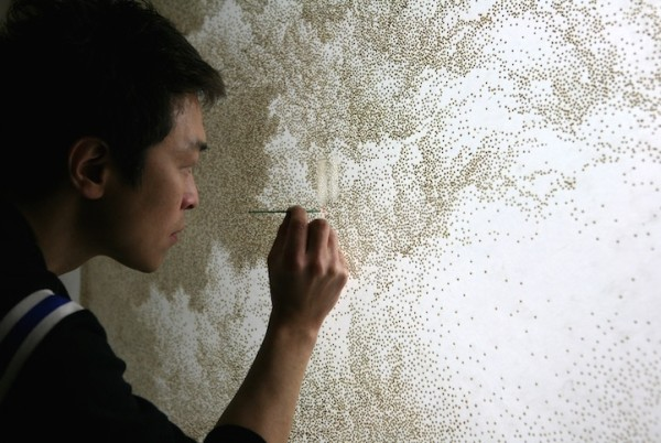 Image credit: Jihyun Park, working on a reverse-pointillist masterpiece, via http://www.mymodernmet.com/profiles/blogs/jihyun-park-reverse-pointillism-incense-paper.