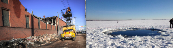 Images credit: Oleg Kargopolov / AFP / Getty Images (L), Chebarkul town head Andrey Orlov (R).