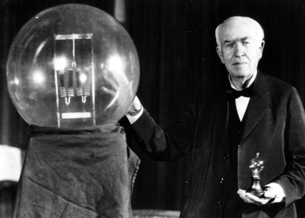 Image credit: Thomas Edison with his famed light bulb; public domain image.