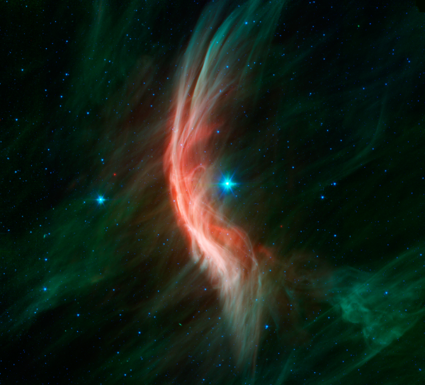 Image credit: NASA / JPL-Caltech, via http://www.spitzer.caltech.edu/images/5517-sig12-014-Massive-Star-Makes-Waves.