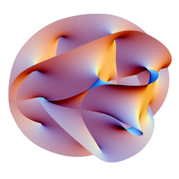 Image credit: Wikimedia Commons user Lunch, of a 2-D projection of a Calabi-Yau manifold, one popular method of compactifying the extra, unwanted dimensions of String Theory.