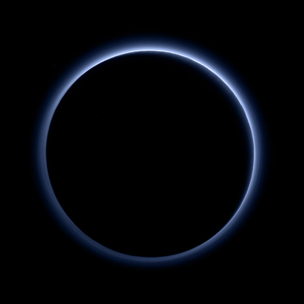 Image credit: NASA/Johns Hopkins University Applied Physics Laboratory/Southwest Research Institute, of a backlit Pluto.