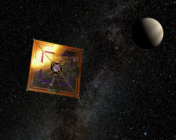 Image credit: Wikimedia Commons user Andrzej Mirecki, under a c.c.a.-s.a.-3.0 license, of the related solar sail concept IKAROS mission.