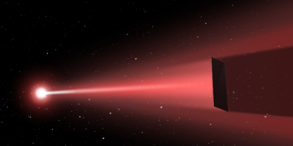 Image credit: the DEEP-laser sail concept, via http://www.deepspace.ucsb.edu/projects/directed-energy-interstellar-precursors, Copyright © 2016 UCSB Experimental Cosmology Group.