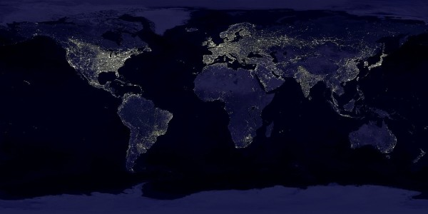 Artificial lights strongly overlap with the concentrations of Earth's population, showing the locations of light pollution. Image credit: Data courtesy Marc Imhoff of NASA GSFC and Christopher Elvidge of NOAA NGDC. Image by Craig Mayhew and Robert Simmon, NASA GSFC