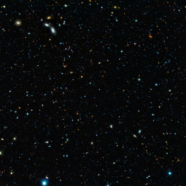 Image credit: ESO/M. Hayes, of a region of the GOODS field imaged by both Hubble and multiple instruments aboard the ESO's Very Large Telescope.