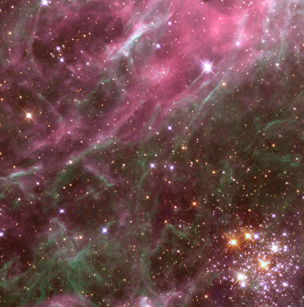 The star cluster Hodge 301 (lower right) in the Tarantula Nebula, by Hubble. Image credit: The Hubble Heritage Team (AURA / STScI / NASA).
