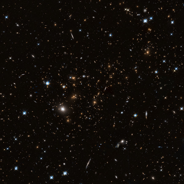 Image credit: NASA / STScI, of cluster MACS J0717.5+3745 in the optical, courtesy of Hubble Frontier Fields.