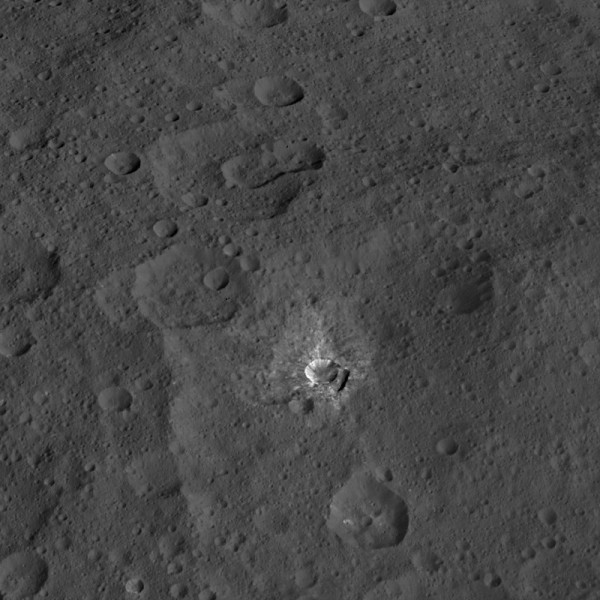 Image credit: NASA/JPL-Caltech/UCLA/MPS/DLR/IDA, of Oxo crater.