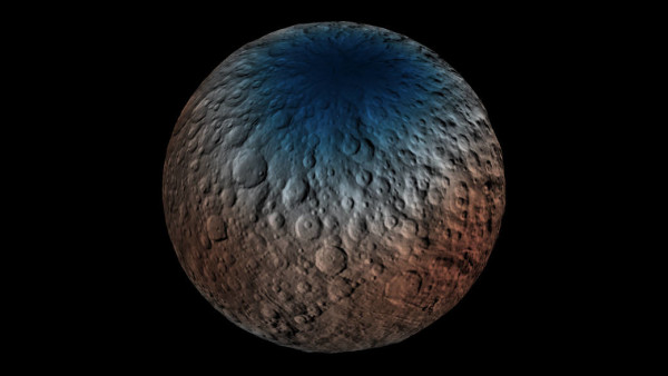 This map shows a portion of the northern hemisphere of Ceres with neutron counting data acquired by the gamma ray and neutron detector (GRaND) instrument aboard NASA's Dawn spacecraft. Image credit: NASA/JPL-Caltech/UCLA/ASI/INAF.