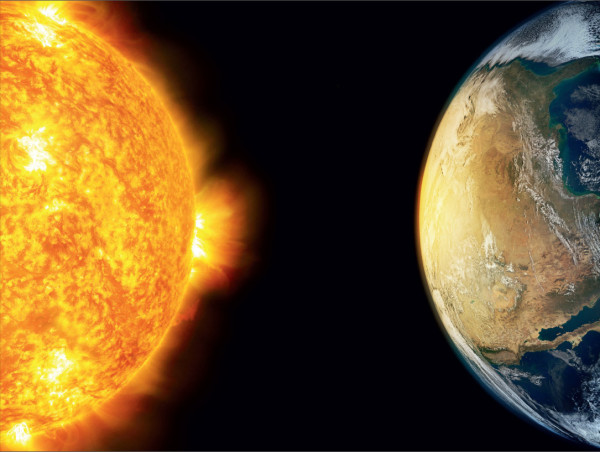 Image credit: public domain illustration from Shutterstock, of the Sun and Earth.