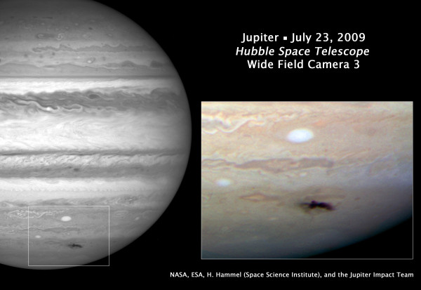 Image credit: NASA, ESA, H. Hammel (Space Science Institute, Boulder, Colo.), and the Jupiter Impact Team, of the aftermath of the 2009 Jupiter impact.