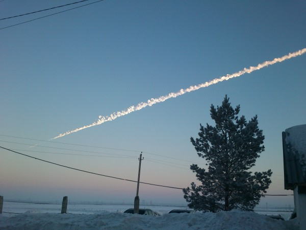 Image credit: Константин Кудинов, under a c.c.a.-s.a.-3.0 license, of the Chelyabinsk meteor in Russia.