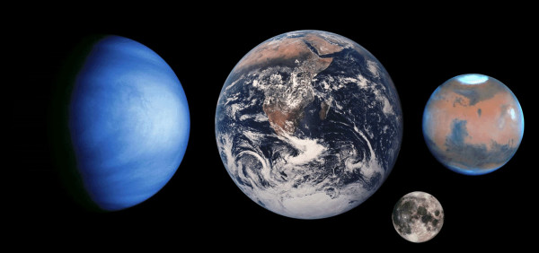 Venus, Earth, the Moon and Mars to scale, images courtesy of NASA.
