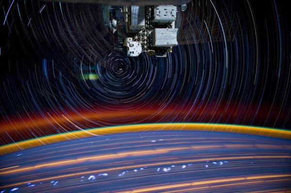 Image credit: NASA / Astronaut Don Pettit / @astro_pettit on Twitter, of the star trails from space and numerous atmospheric features on the Earth.