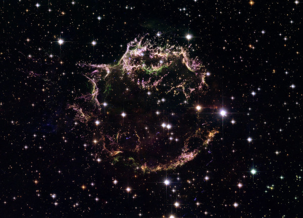 The Cassiopeia A supernova remnant, as imaged in the visible part of the spectrum by the Hubble Space Telescope. Image credit: NASA, ESA, and the Hubble Heritage (STScI/AURA)-ESA/Hubble Collaboration. Acknowledgement: Robert A. Fesen (Dartmouth College, USA) and James Long (ESA/Hubble).