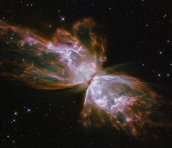 The Butterfly nebula, perhaps the most beautiful of them all: Planetary Nebula NGC 6302. Image credit: NASA, ESA and the Hubble SM4 ERO Team.